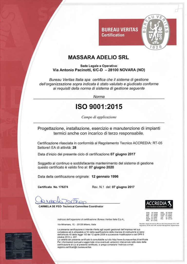 Certificato BVQI